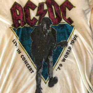 Divided Tops - AC/DC Sheer Graphic Burnout Tee